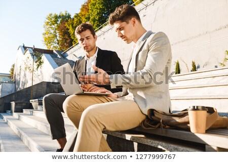 ortaklar · merdiven · görüntü · kadın · erkek · ayakta - stok fotoğraf © deandrobot