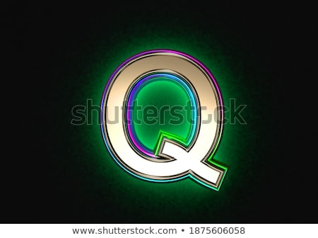 black outline font letter q 3d stock photo © djmilic