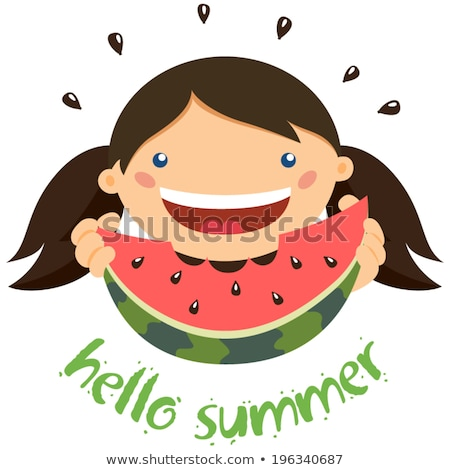 kid eating watermelon on beach summertime vector stock photo © robuart