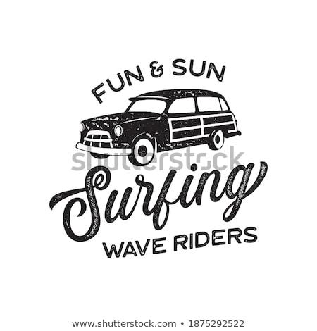 ヴィンテージ サーフィン ロゴ 印刷 デザイン Tシャツ ストックフォト © JeksonGraphics