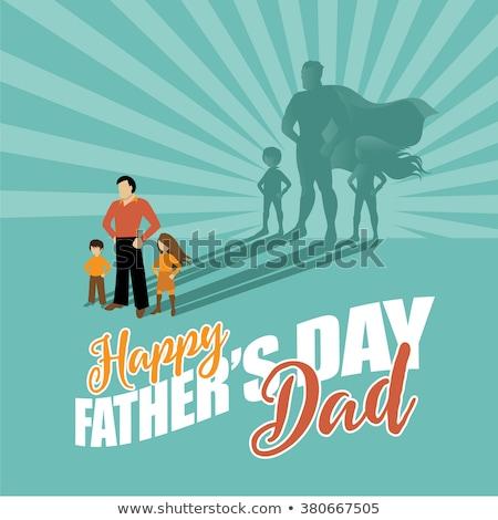 Jour de pères heureux carte super papa enfants carte de vœux Photo stock © marish