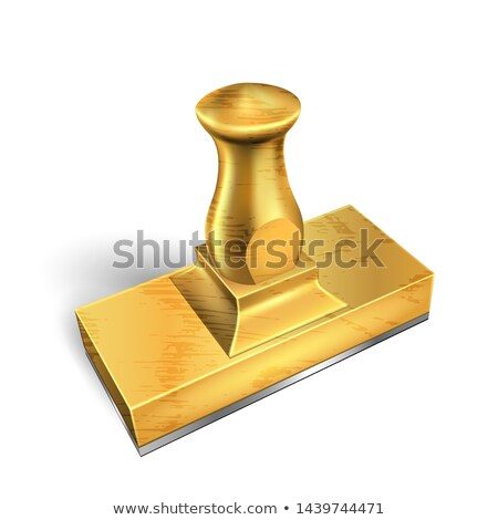 Stock photo: Standing Golden Metal Office Stamp Cliche Vector