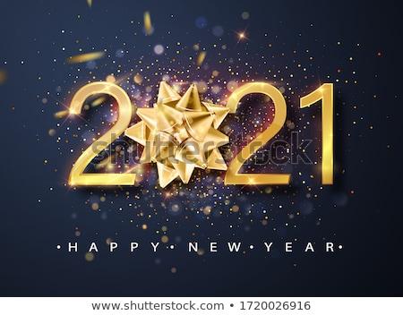Digitális vektor kék boldog új évet citromsárga fehér Stock fotó © frimufilms