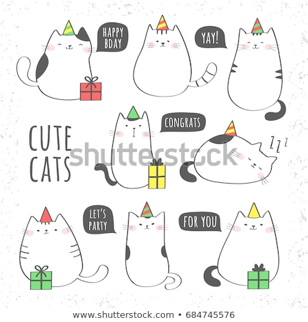 Cute cat in a box cartoon hand drawn style stock photo © amaomam