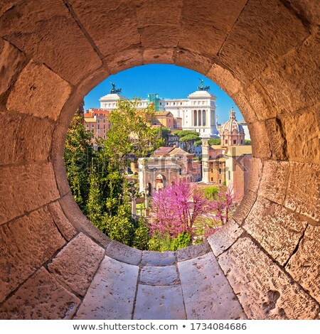 Stock photo: Scenic aerial stone window view over the ruins of the Roman Foru