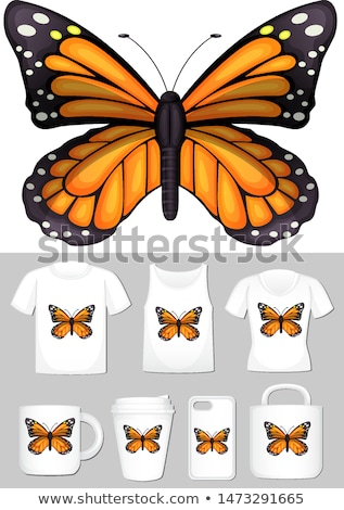 Graphic of monarch butterfly on different product templates Stock photo © bluering