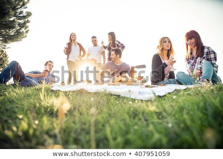 friends with drinks and food at picnic in park Stock photo © dolgachov