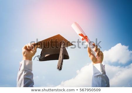 graduação · diploma · mãos · isolado · branco · mulher - foto stock © freedomz