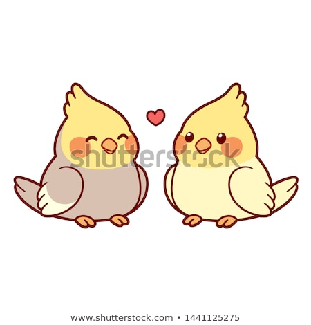 Funny, cute cartoon parrot. Love, valentinesday illustration. Stock photo © rwgusev