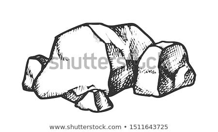 Stone Pile Cobblestone Boulder Monochrome Vector Stock photo © pikepicture
