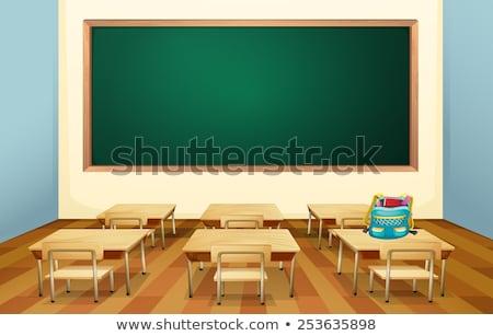 vissza · az · iskolába · matricák · számítógép · papír · könyv · földgömb - stock fotó © robuart