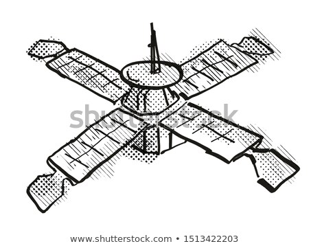 Vintage Spaceprobe or Satellite Cartoon Retro Drawing Stock photo © patrimonio