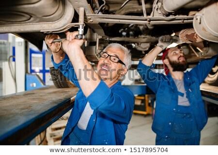 Volwassen technische professionele werkkleding stagiair onderzoeken Stockfoto © pressmaster
