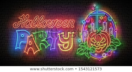 glow halloween greeting card with witch pumpkin crosses candle stock photo © lissantee