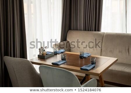 otthon · függönyök · parketta · fa · fal · háttér - stock fotó © pressmaster