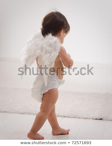 Kislány visel angyalszárnyak izolált fehér baba Stock fotó © Lopolo