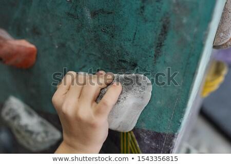 Kéz iskolás fiú egy kicsi kövek mászik Stock fotó © pressmaster