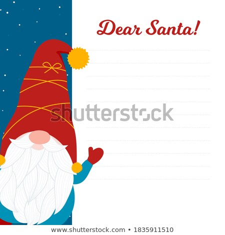 Christmas card with cute gnome and wishes. Flat design. Vector Stock photo © balasoiu