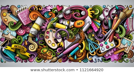 Artist hand drawn doodle banner. Cartoon detailed illustrations. Stock photo © balabolka