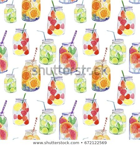 Detoxikáló eper smoothie üveg fogyókúra tiszta Stock fotó © Anneleven