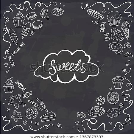 Donuts hand drawn doodles illustration. Sweets frame card design Stock photo © balabolka
