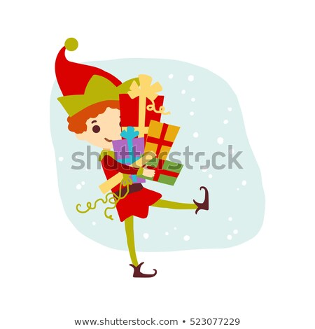 Elf Carrying Presents for Christmas Holiday Vector Stock photo © robuart