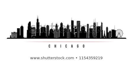 Chicago városkép feketefehér sziluett egyszerű turizmus Stock fotó © ShustrikS