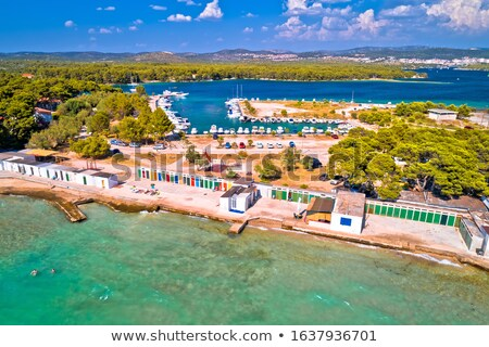 Jadrija beach and colorful cabins aerial view Stock photo © xbrchx