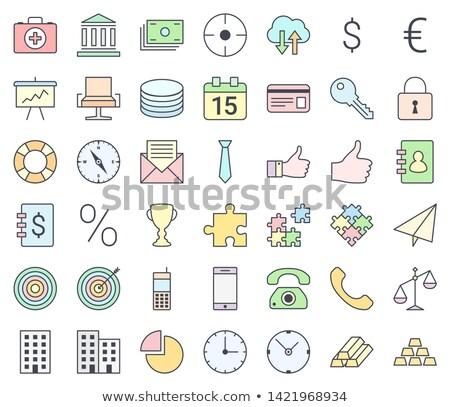 Ekereskedelem egyszerű vékony ikon gyűjtemény tömés pasztell Stock fotó © ukasz_hampel
