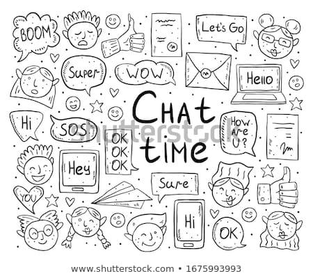 Chat tijd cartoon doodle vector clip art Stockfoto © foxbiz