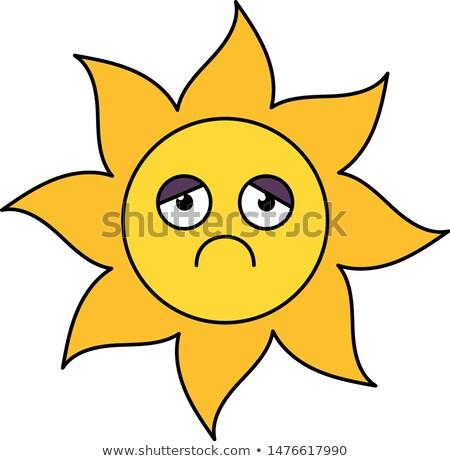 Depressed sun sticker outline illustration Stock photo © barsrsind