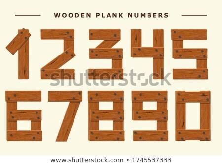 Hout aantal ingesteld houten plank numeriek Stockfoto © Andrei_