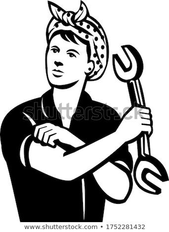 Female Automotive Mechanic With Wrench Flexing Muscle Retro Black and White Stock photo © patrimonio