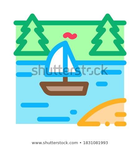 Prąd rzeki ikona wektora ilustracja Zdjęcia stock © pikepicture