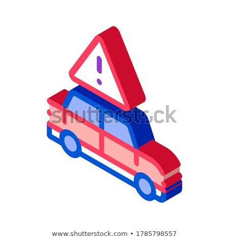 Car Danger Obstruction isometric icon vector illustration Stock photo © pikepicture
