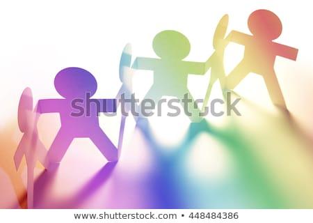 Teamarbeit farbenreich Papier Puppen Kette weiß Stock foto © Ansonstock