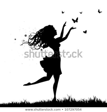 güzel · bir · kadın · saç · çiçekler · kelebekler · kadın · kız - stok fotoğraf © orson