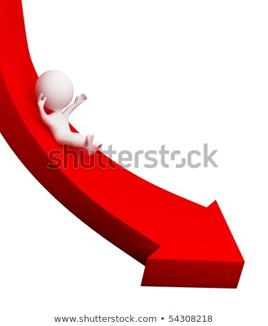 Stock photo: 3d small people - arrow downwards