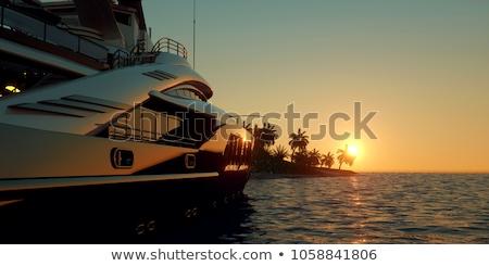 Сток-фото: яхта · пляж · природы · морем · острове · Blue · Sky