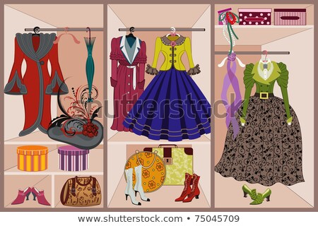 Foto stock: fashion illustration women with vintage suitcase