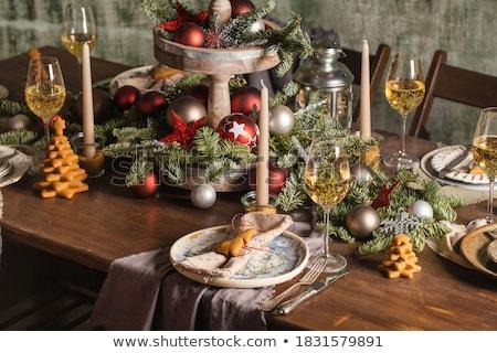 geserveerd · tabel · gericht · glas · bruiloft · vergadering - stockfoto © zybr78