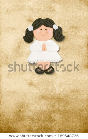 first holy communion invitation card cute brunette girl stock photo © marimorena