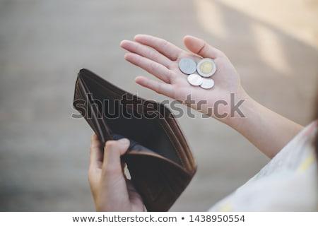 Nincs pénz férfi külső üres disznó doboz Stock fotó © mammothis