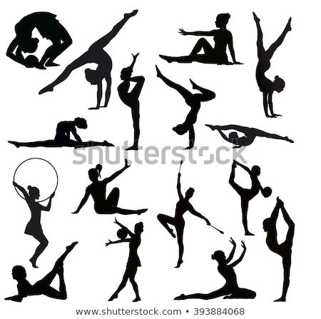 Bevallig gymnast sport vector meisje dansen Stockfoto © yura_fx