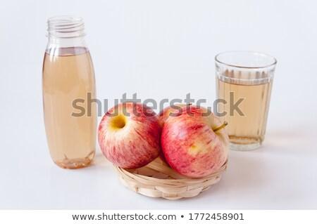Três maçãs cesta isolado branco Foto stock © boroda