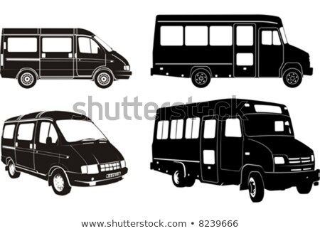 Urban  silhouette and buses image. Vector Stock photo © leonido