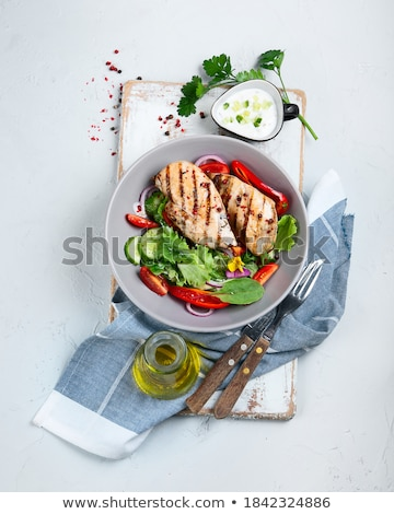 csirkemell · mikró · zöldségek · étel · tyúk · vacsora - stock fotó © ildi