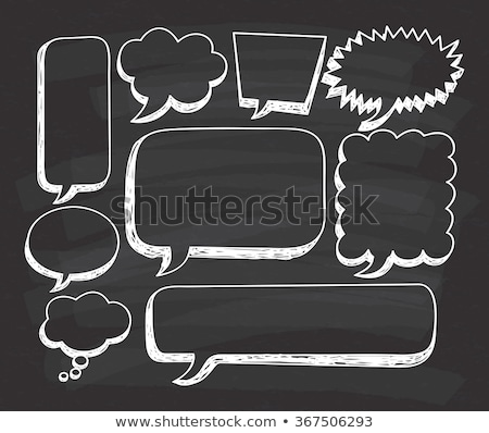 Chalk drawing of blank speech bubbles on a blackboard background stock photo © bbbar