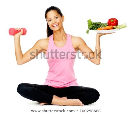 Dieta saudável exercer comida vidro tempo cor Foto stock © photography33