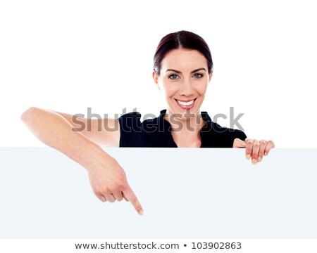 бизнеса · стороны · указывая · женщины · сотрудник · кавказский - Сток-фото © stockyimages